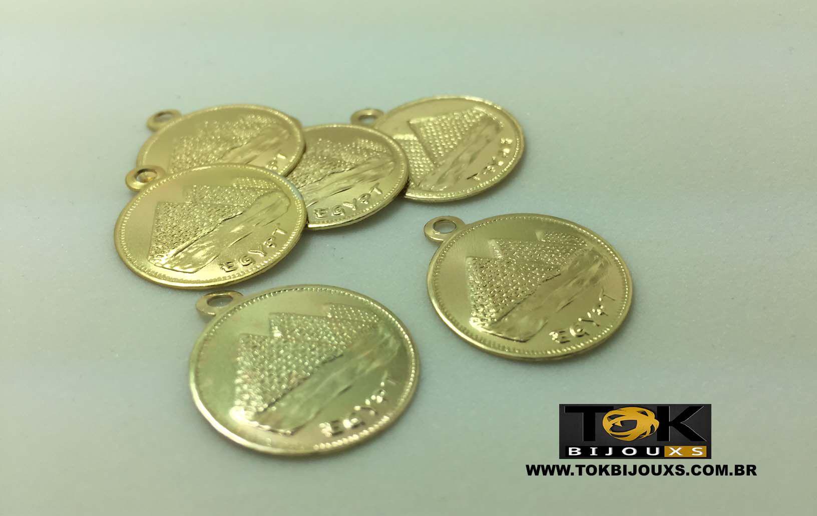 Medalha Média Piramide  - 20mm - Dourada - 25 Unid