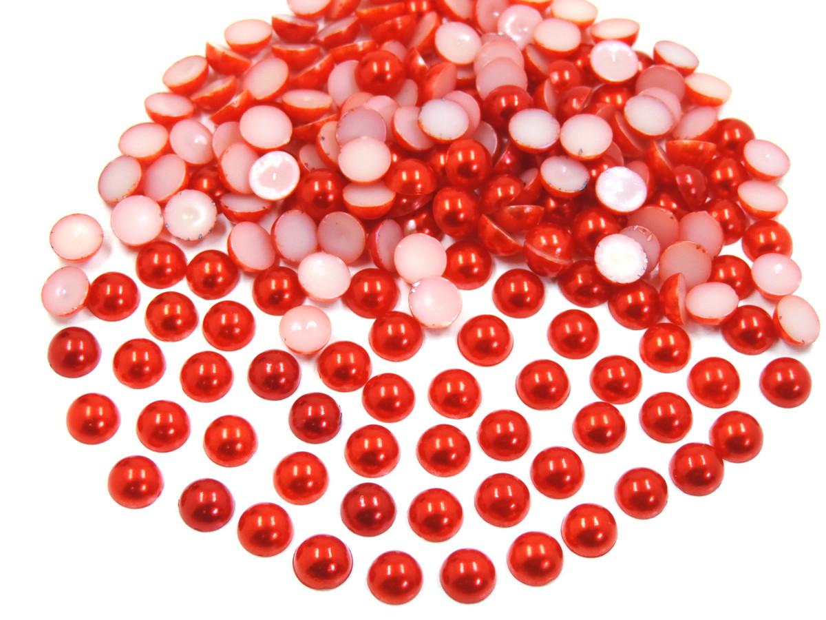 Meia Pérola Abs - 4mm - Vermelho - 25g