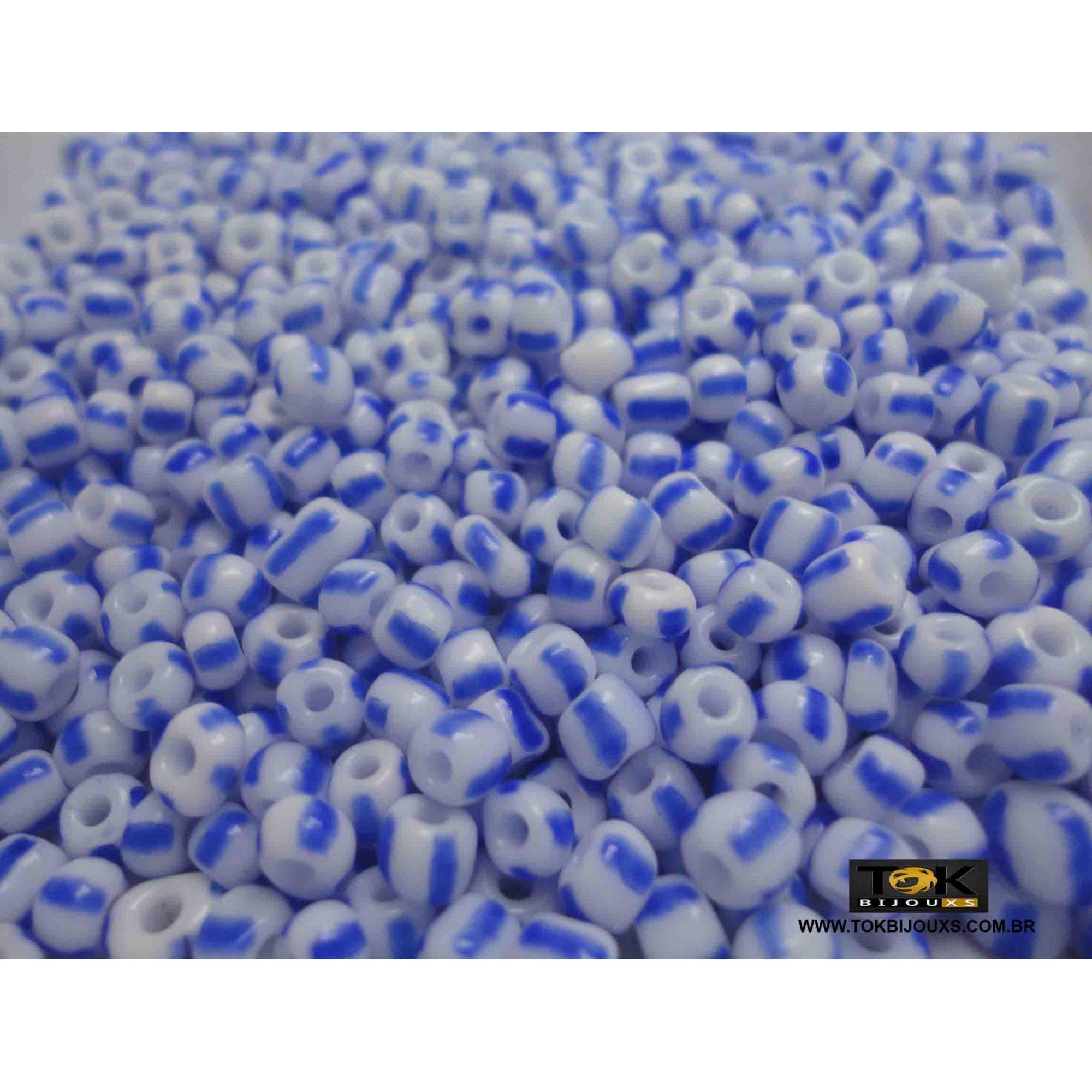 Missangão Rajado Branco / Azul - 50g