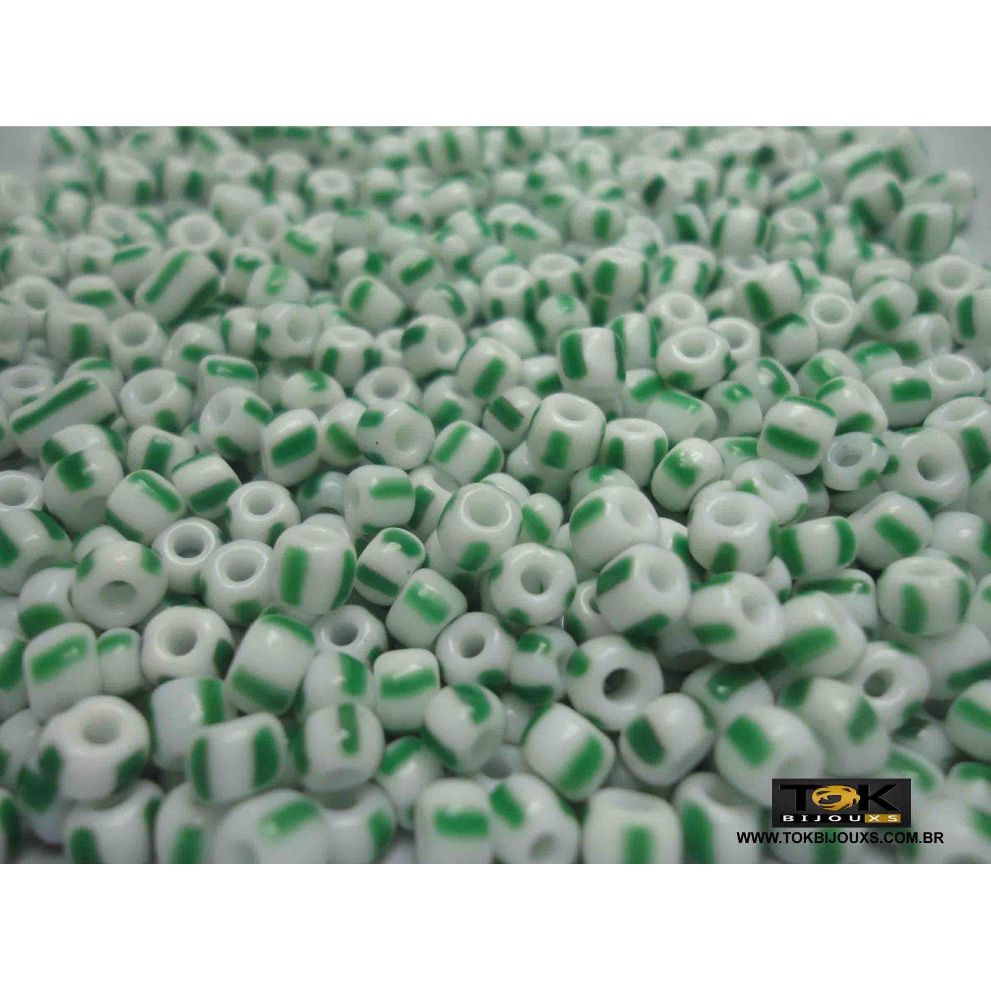 Missangão Rajado Branco / Verde - 50g