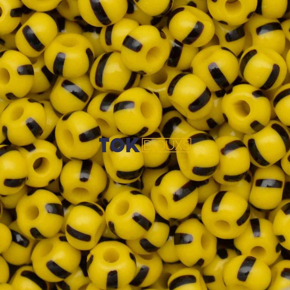 Missangão Rajado Jablonex - Amarelo / Preto - 25g