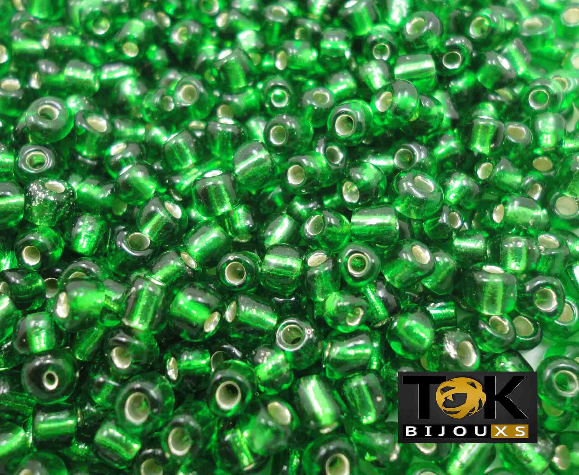 Missangão Verde Bandeira Transparente 6/0 - 50g