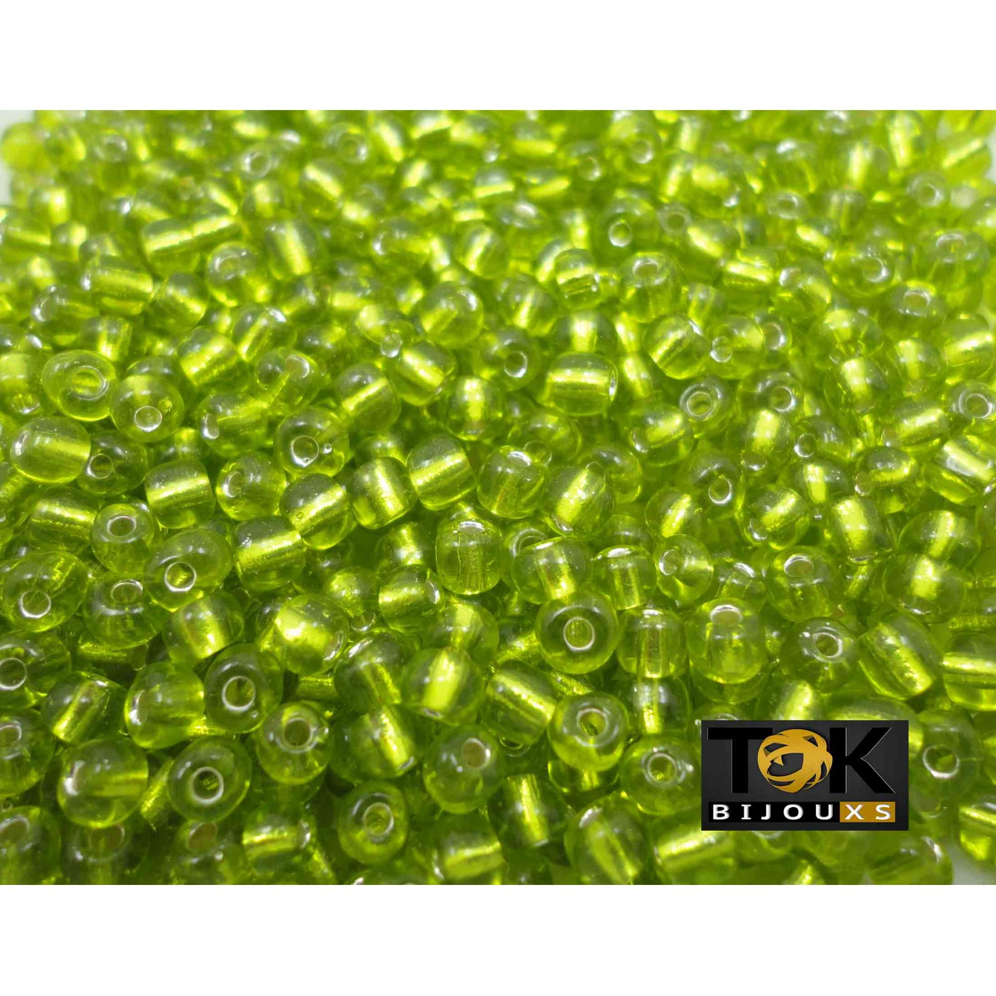 Missangão Verde Limão Transparente 6/0 - 500g