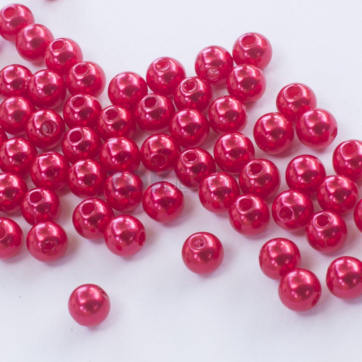 Pérola Redonda Abs 6mm - Vermelho - 25g
