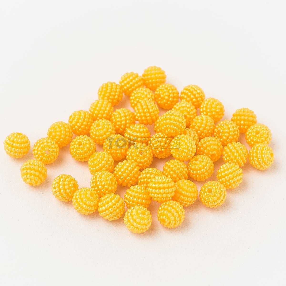 Pérola Amora / Craquelada Abs 10mm - Amarelo - 25g