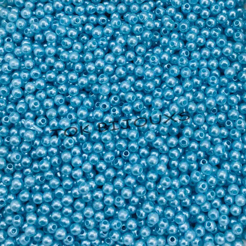 Pérola Plástica 3mm - Azul Bebe - 25g