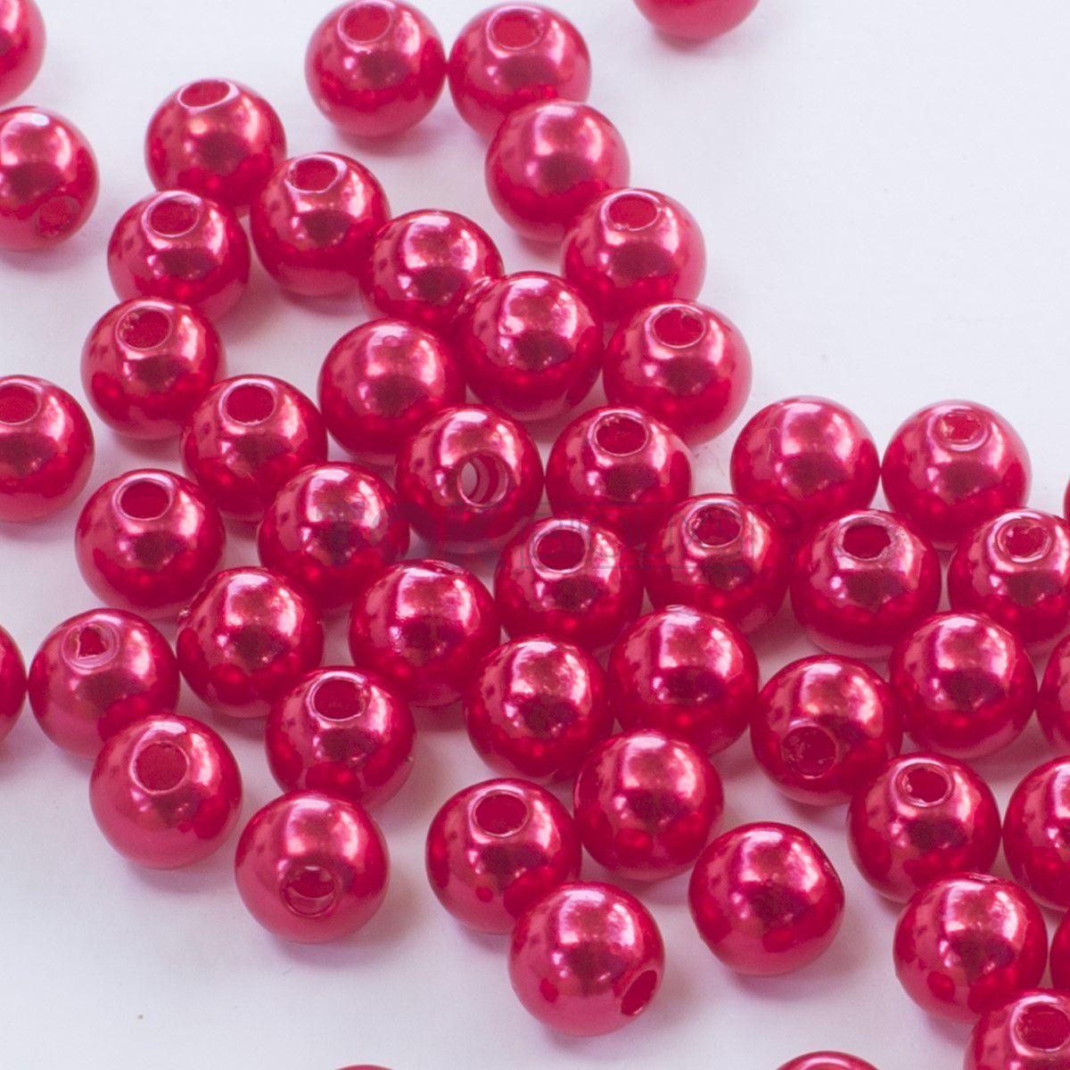 Pérola Redonda Abs 3mm - Vermelho - 25g