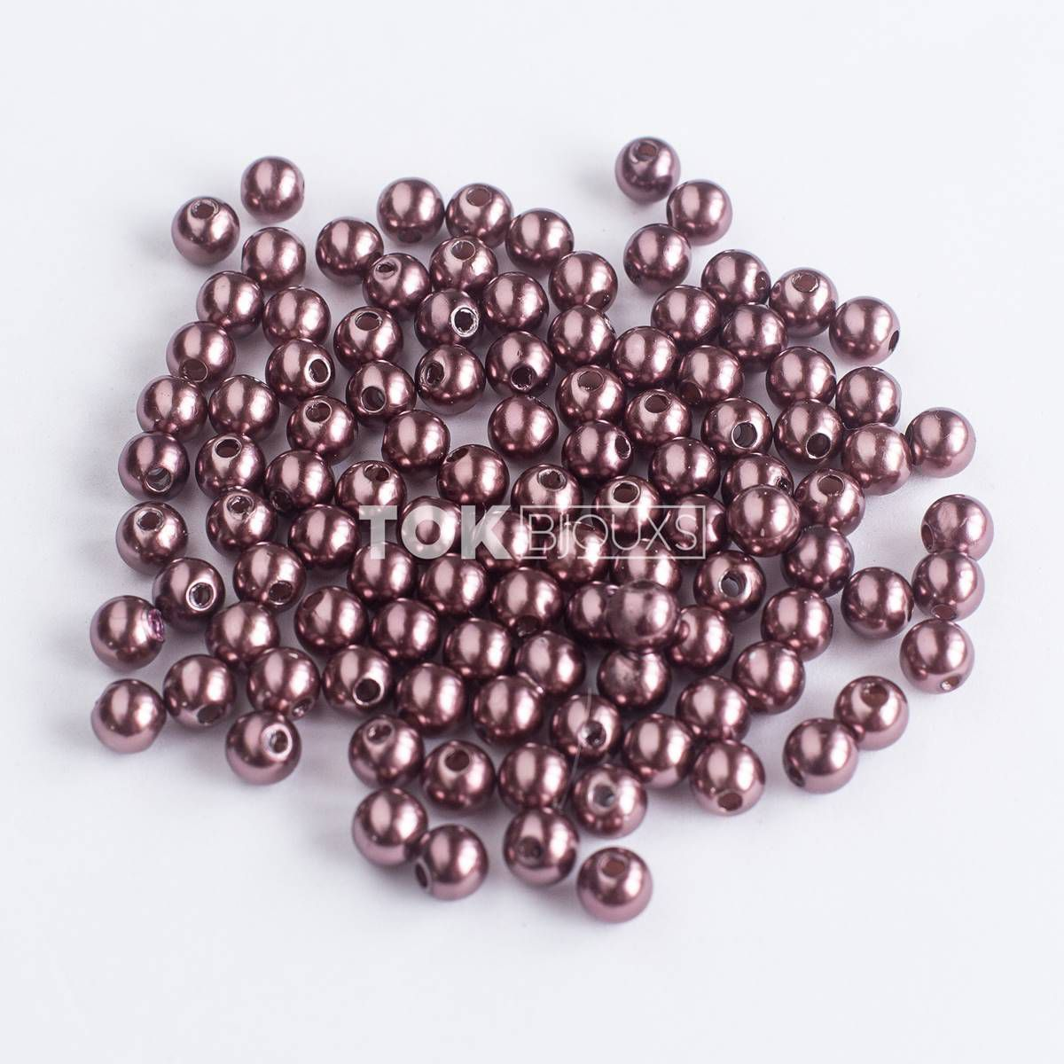 Pérola Redonda 4mm - Marron - 25g