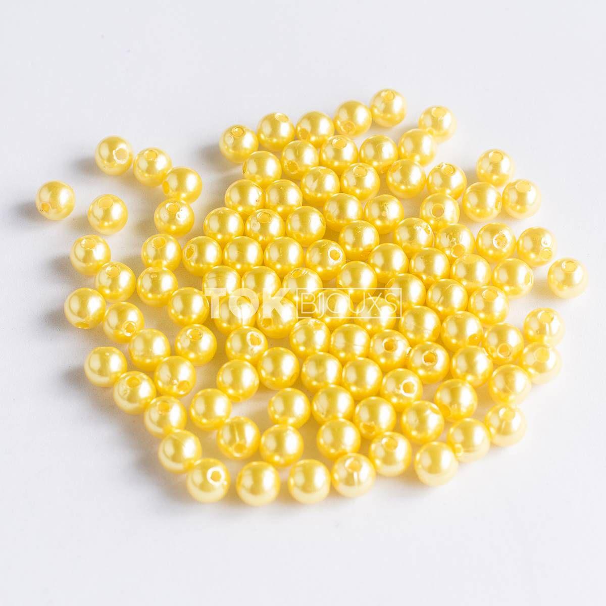 Pérola Redonda Abs 4mm - Amarelo - 25g