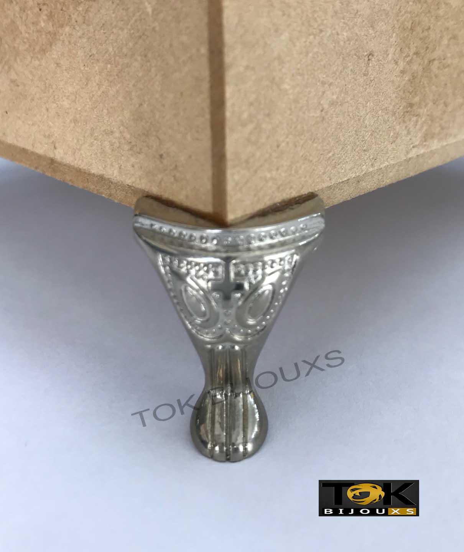 Pézinho Metal Pequeno P/ Mdf - Prata - 1un