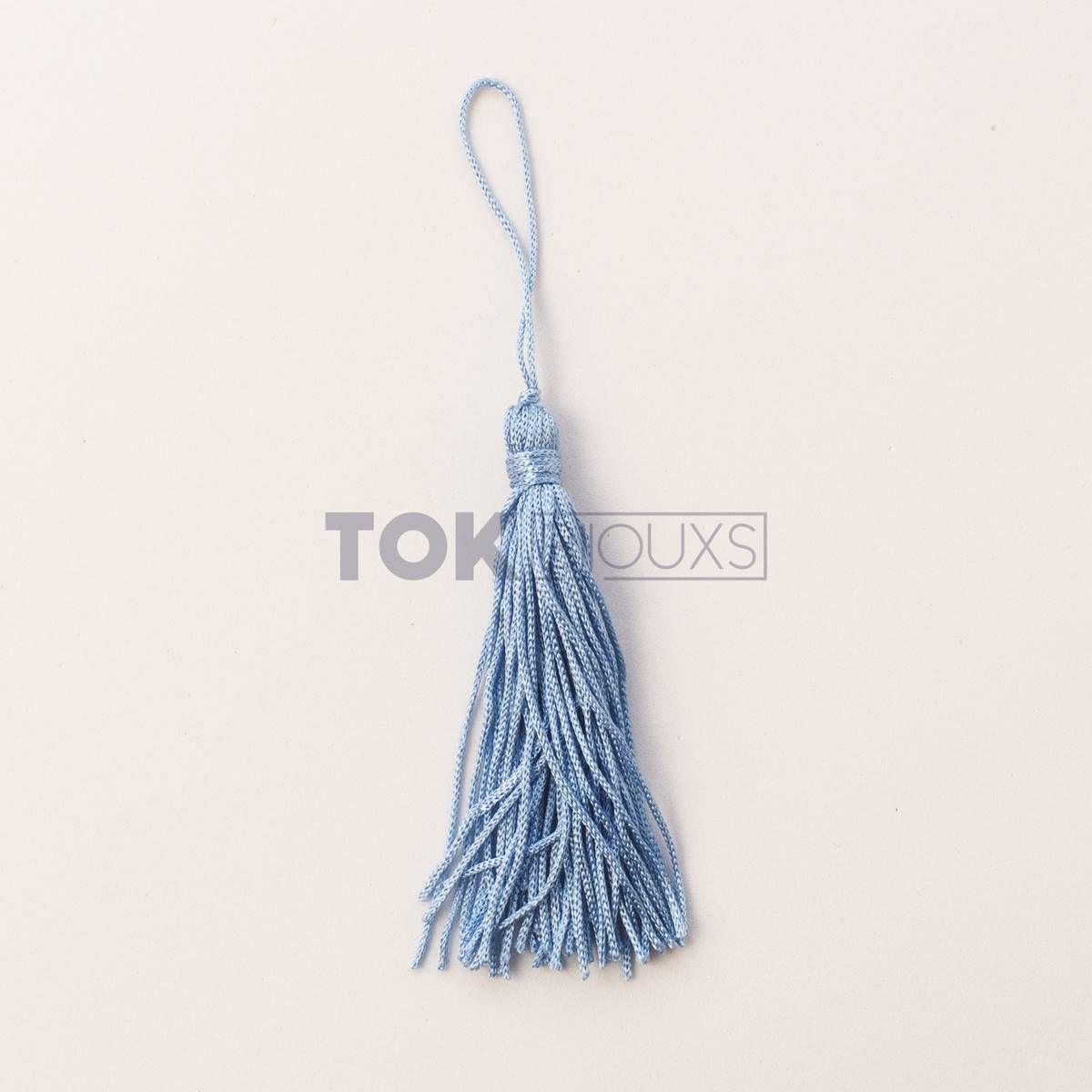 Pingente De Seda - Tassel - Azul Bebe - 100 Unid