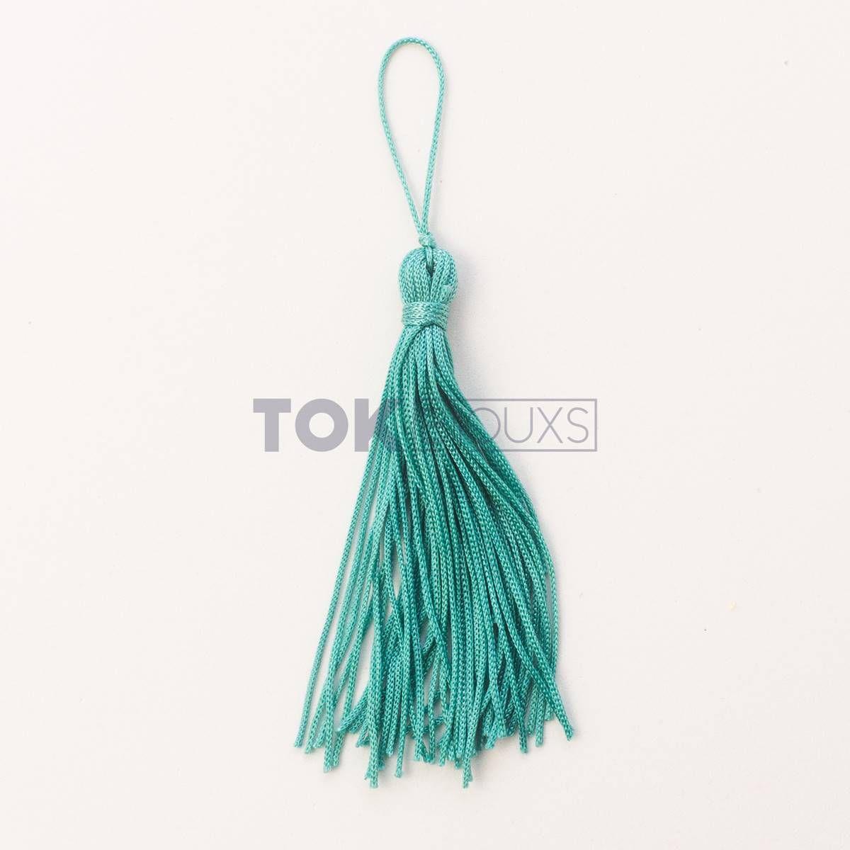 Pingente De Seda - Tassel - Azul Turquesa - 100 Unid