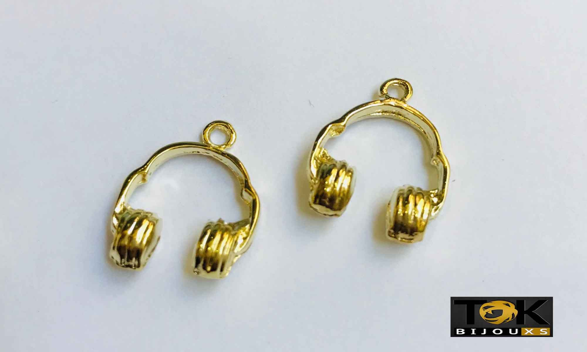 Pingente - Head Phones - Dourado - 1 Unid