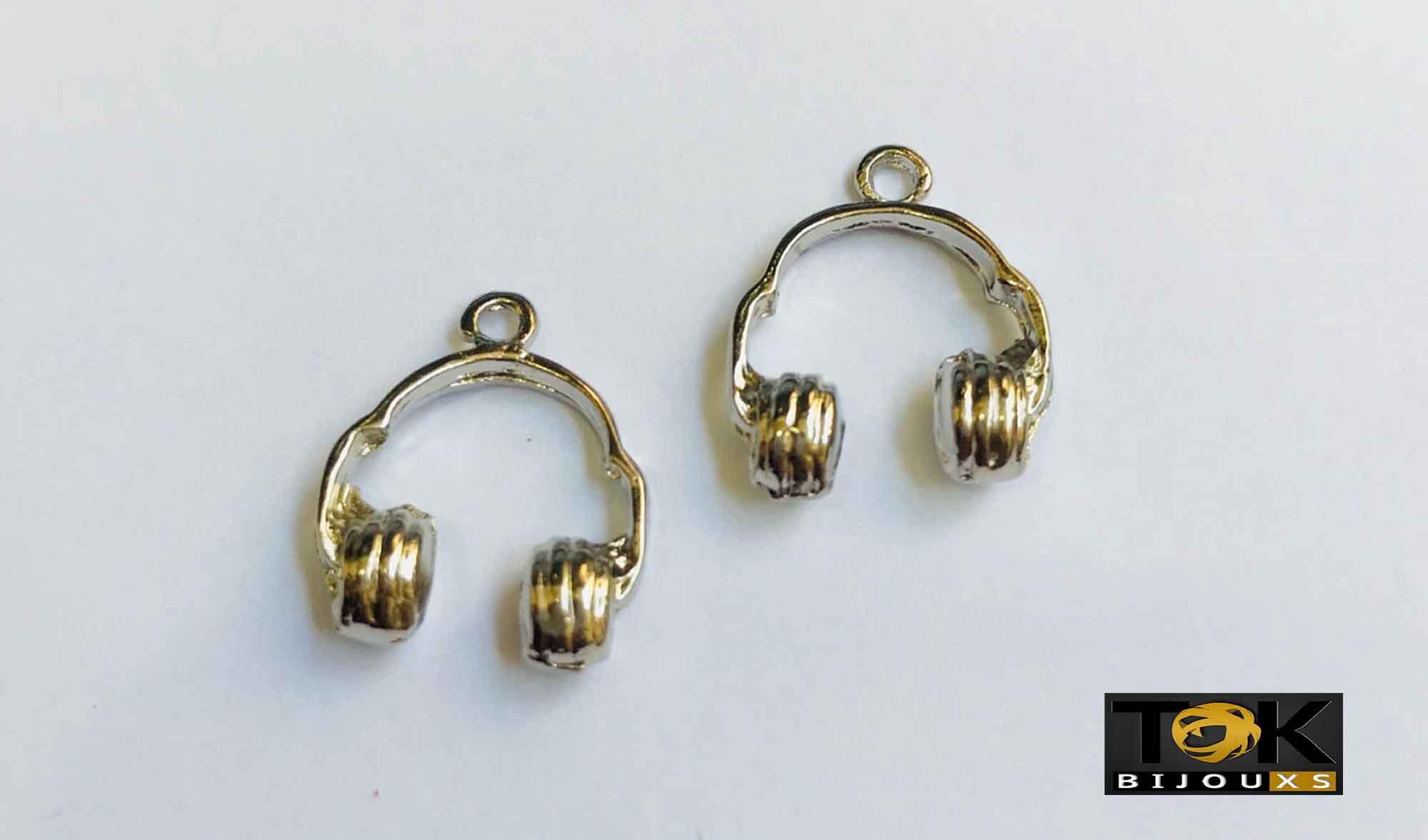 Pingente - Head Phones - Níquel - 1 Unid