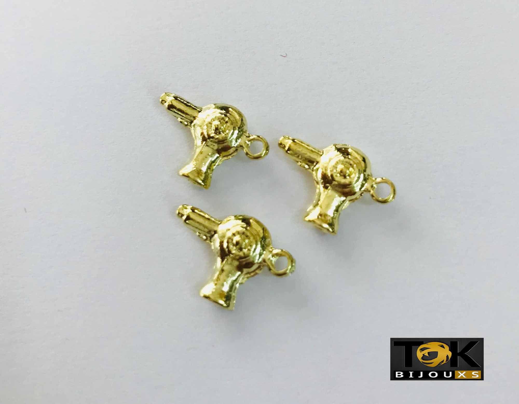 Pingente Profissão - Cabeleireiro Secador - Dourado - 10 UN