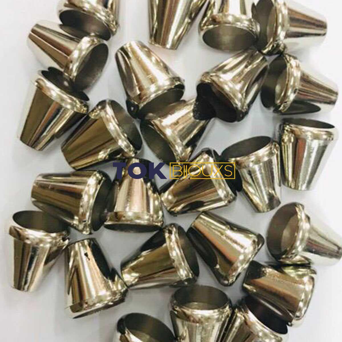 Ponteira para Cordão - 15x6mm - Prata - 25un