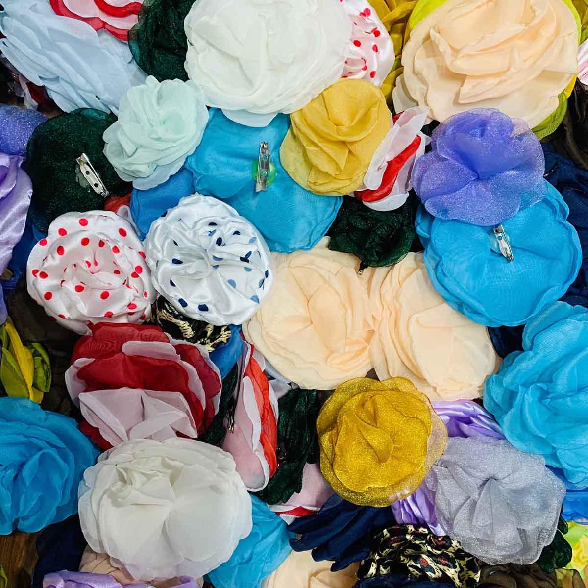 Flores Tecido - Organza / Cetim - Sortido - 10 Peças
