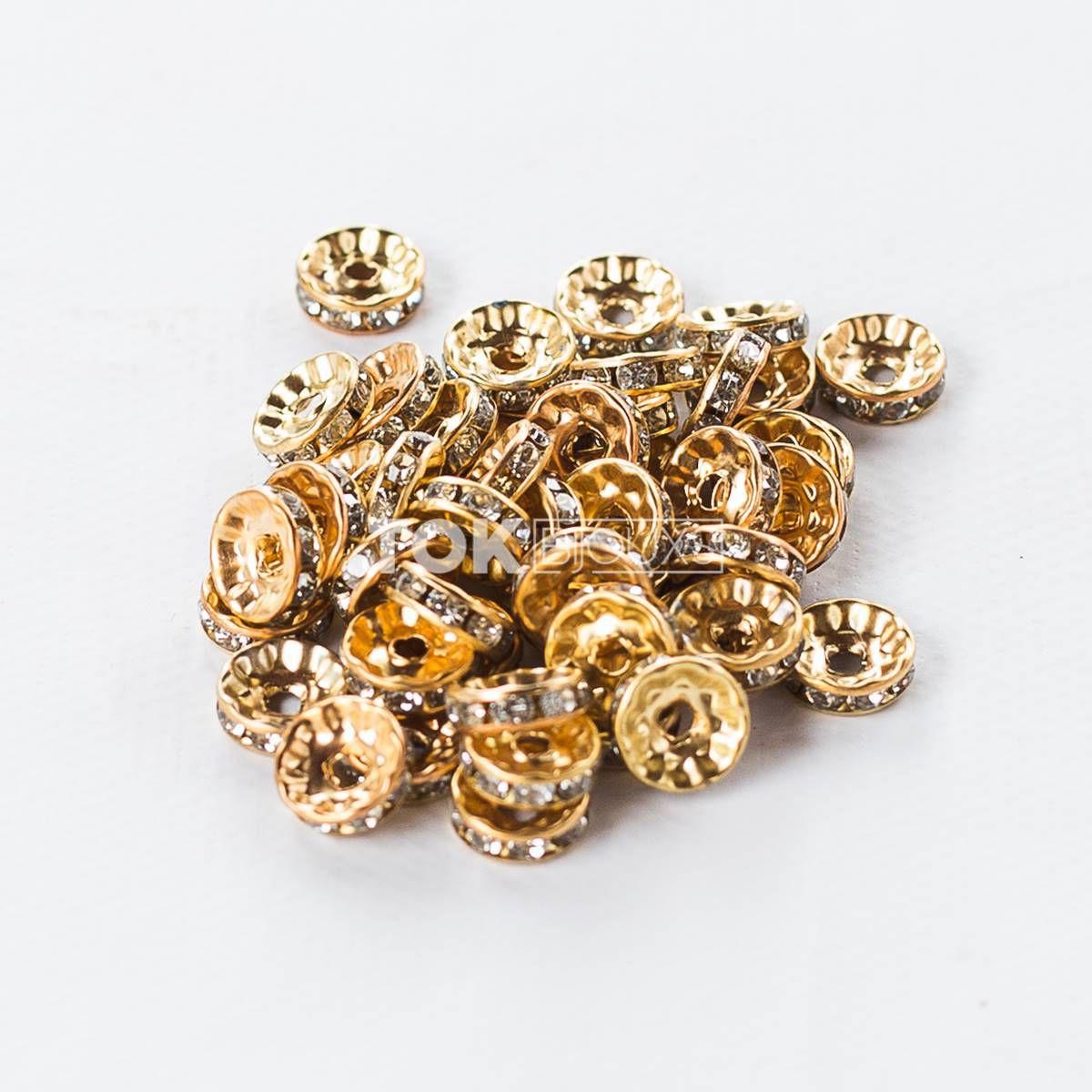 Rondelle Strass 10mm - Dourado - 1000 unid