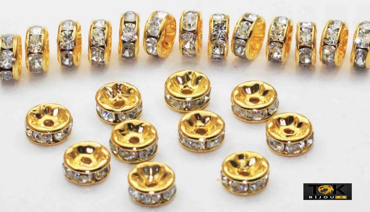 Rondelle Strass 8mm - Dourado - 1000 Unid