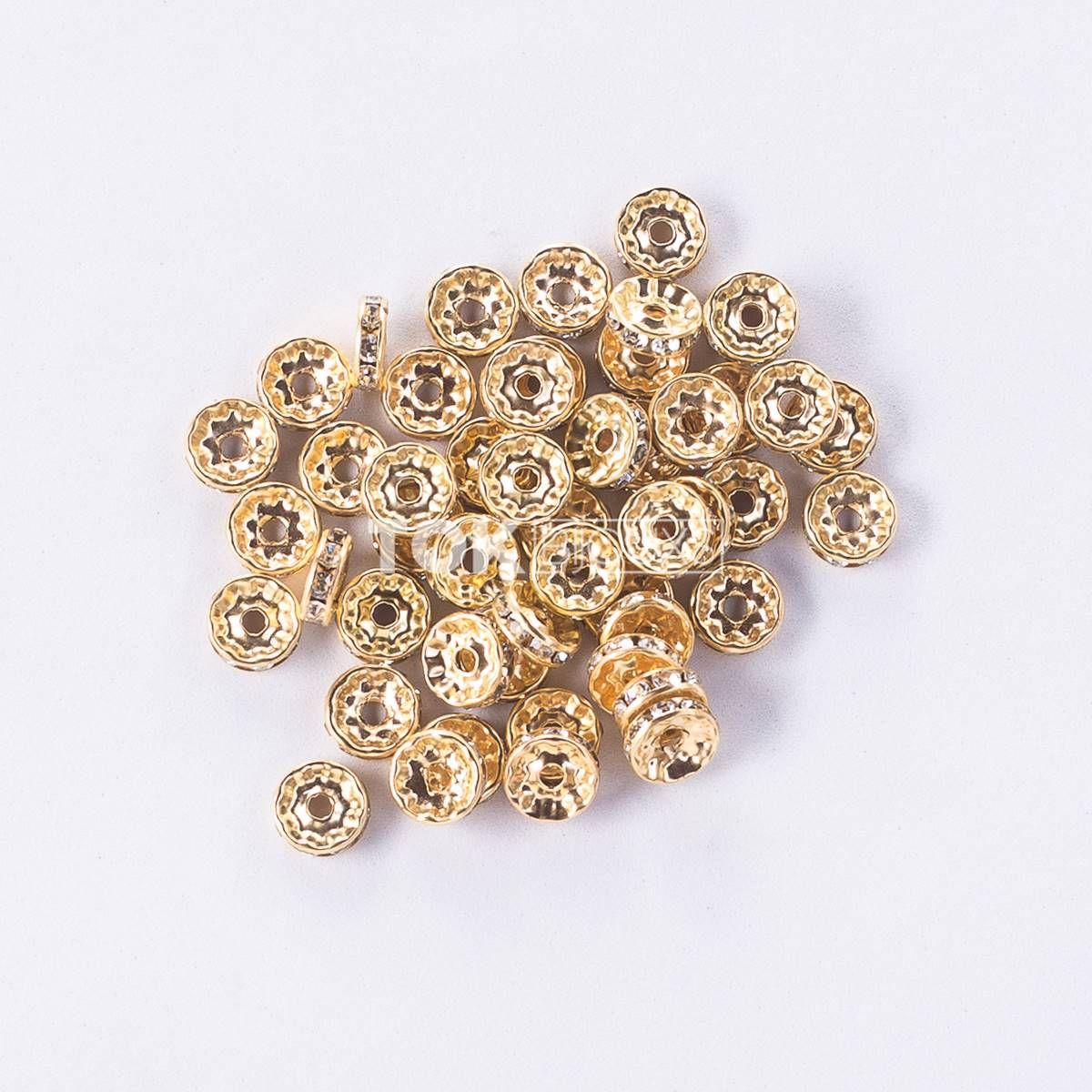 Rondelle Strass 8mm - Dourado - 50 Unid