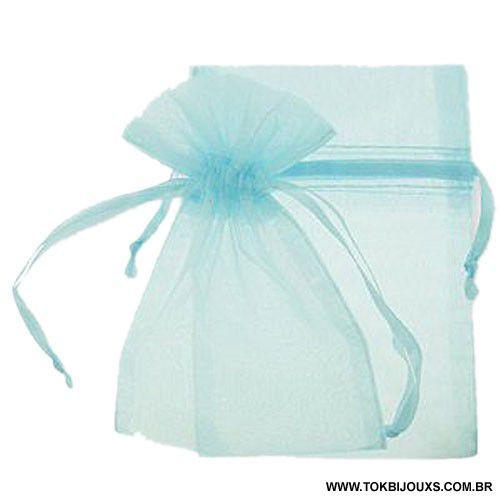 Saco Organza 10X15 - Azul Bebe - 10 Unid
