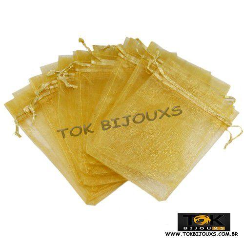 Saco Organza 10X15 - Dourado - 10 Unid