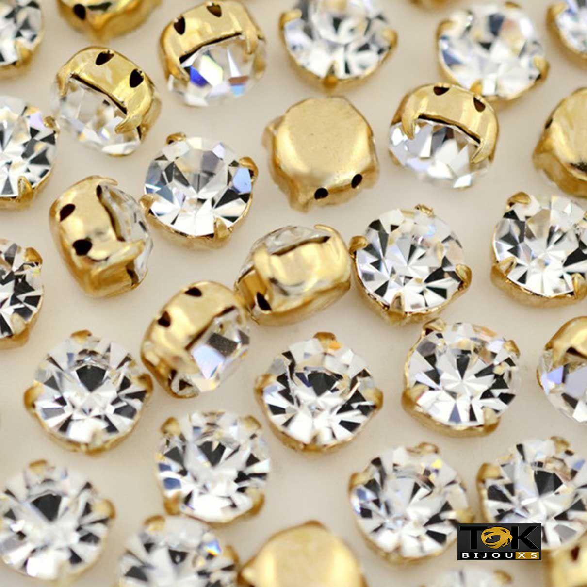 Strass Costura - Dourado Cristal - SS12 / 3mm - 100 un