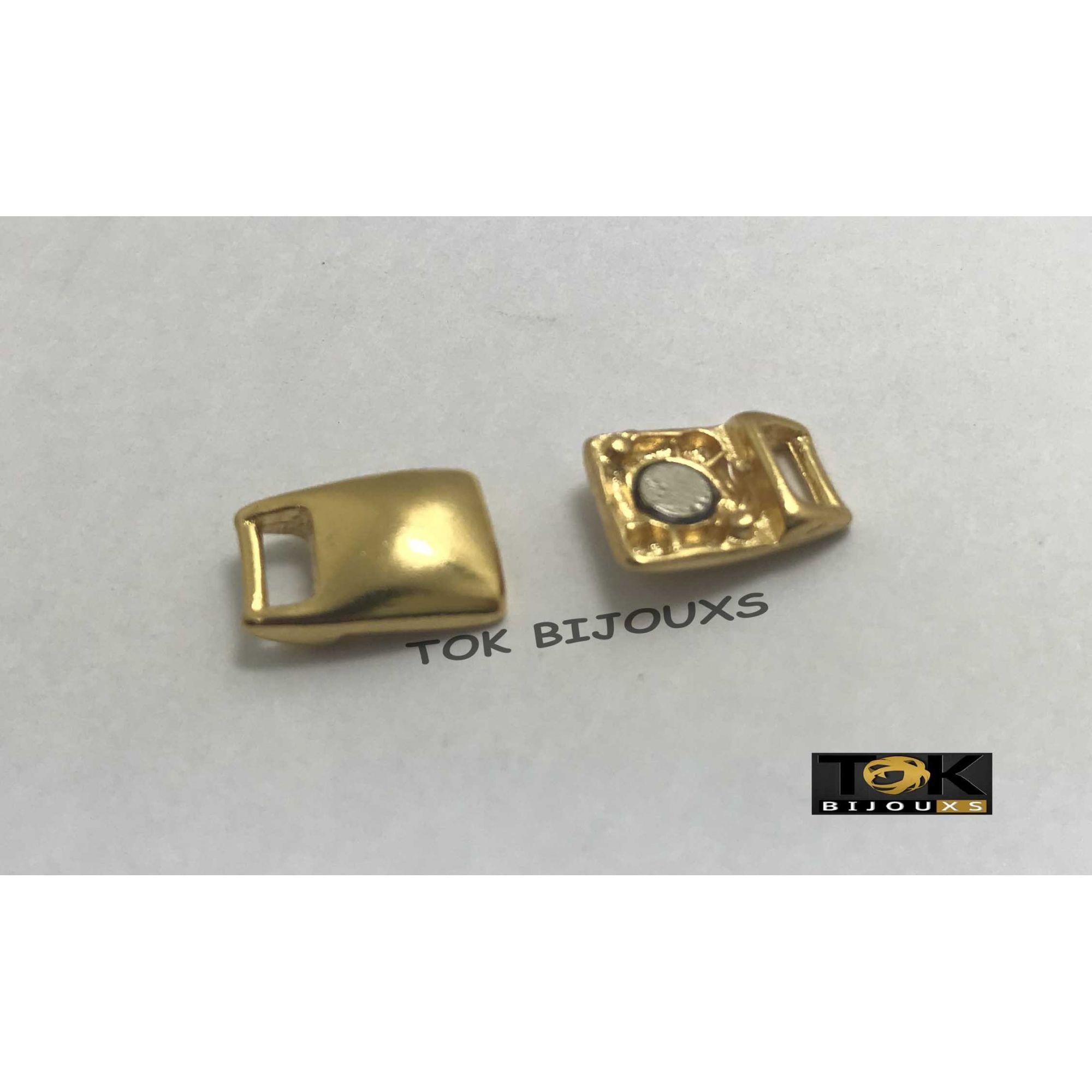 Terminal Imã Retangular - 8mm - Dourado - 1 Par