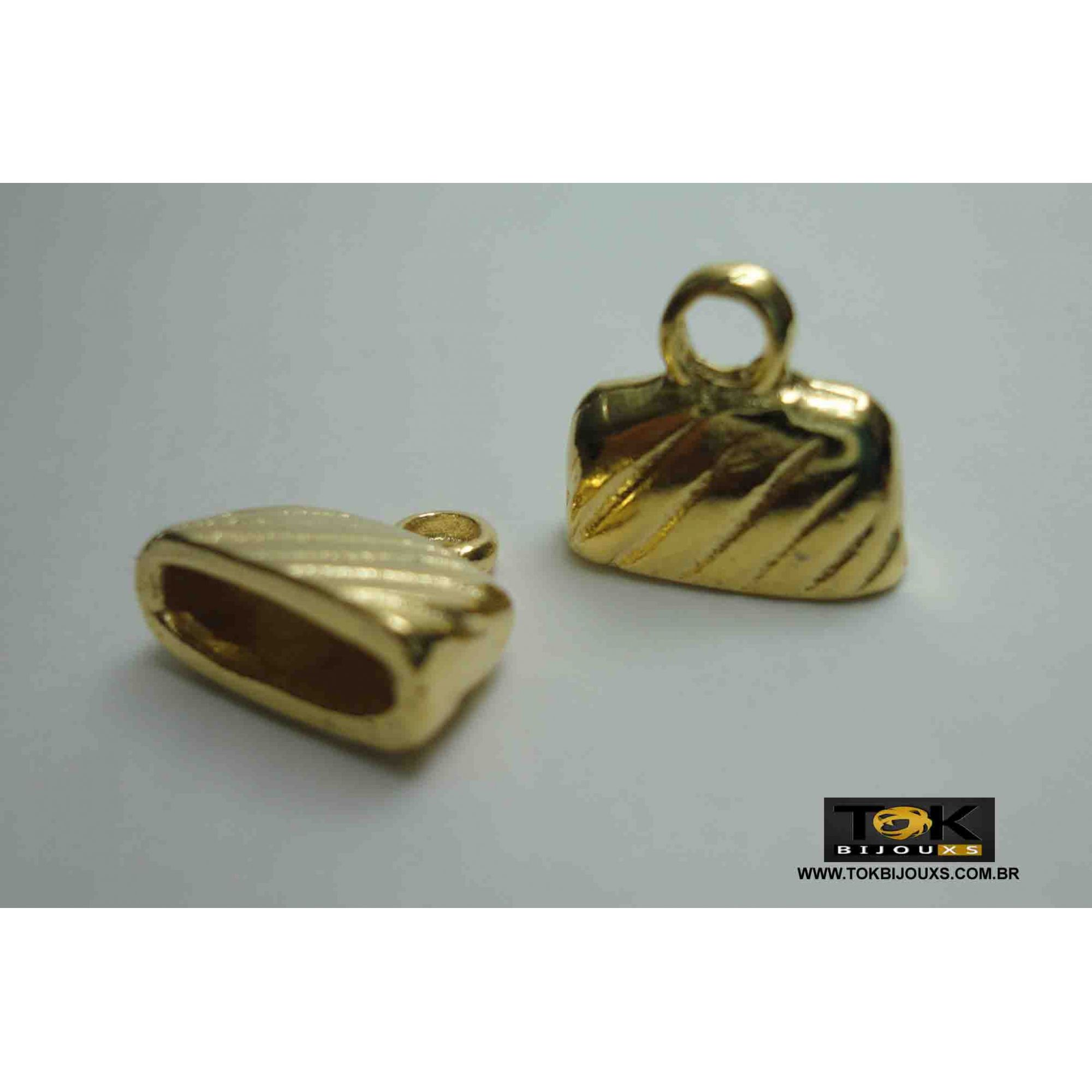 Terminal Para Colagem - 13mm - Dourado - 2 Unid