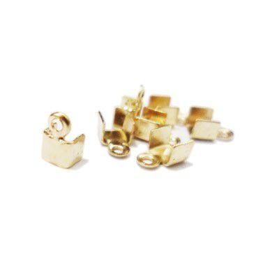 Terminal Quadrado Pequeno - 3mm - Dourado - 100 un