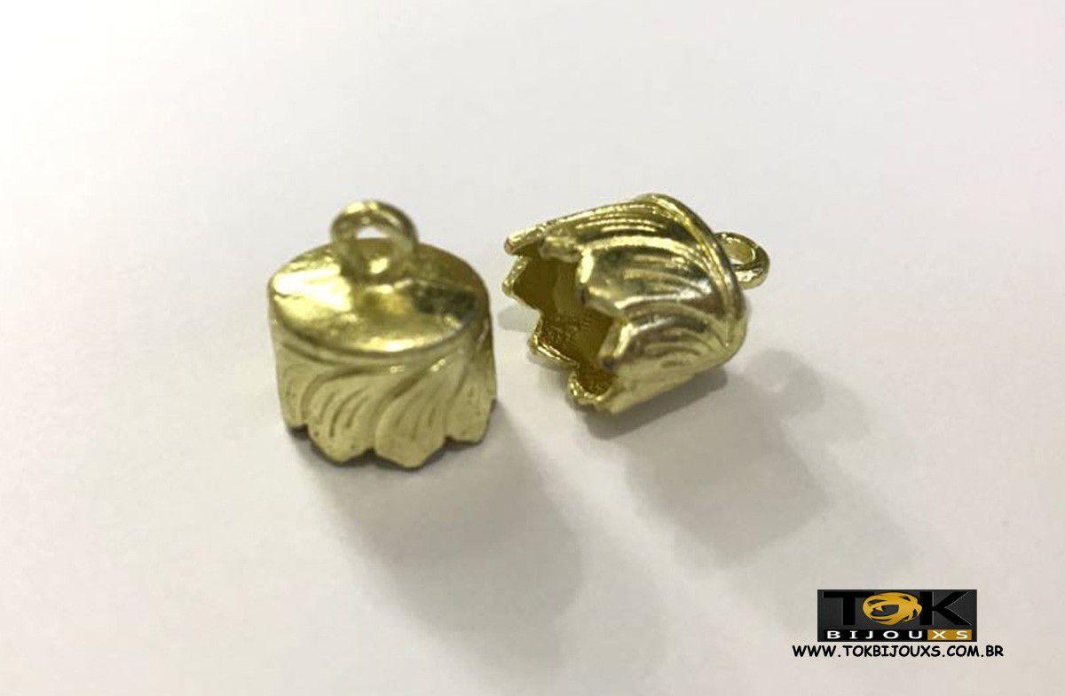 Terminal Redondo - 15mm - Dourado - 2 Unid
