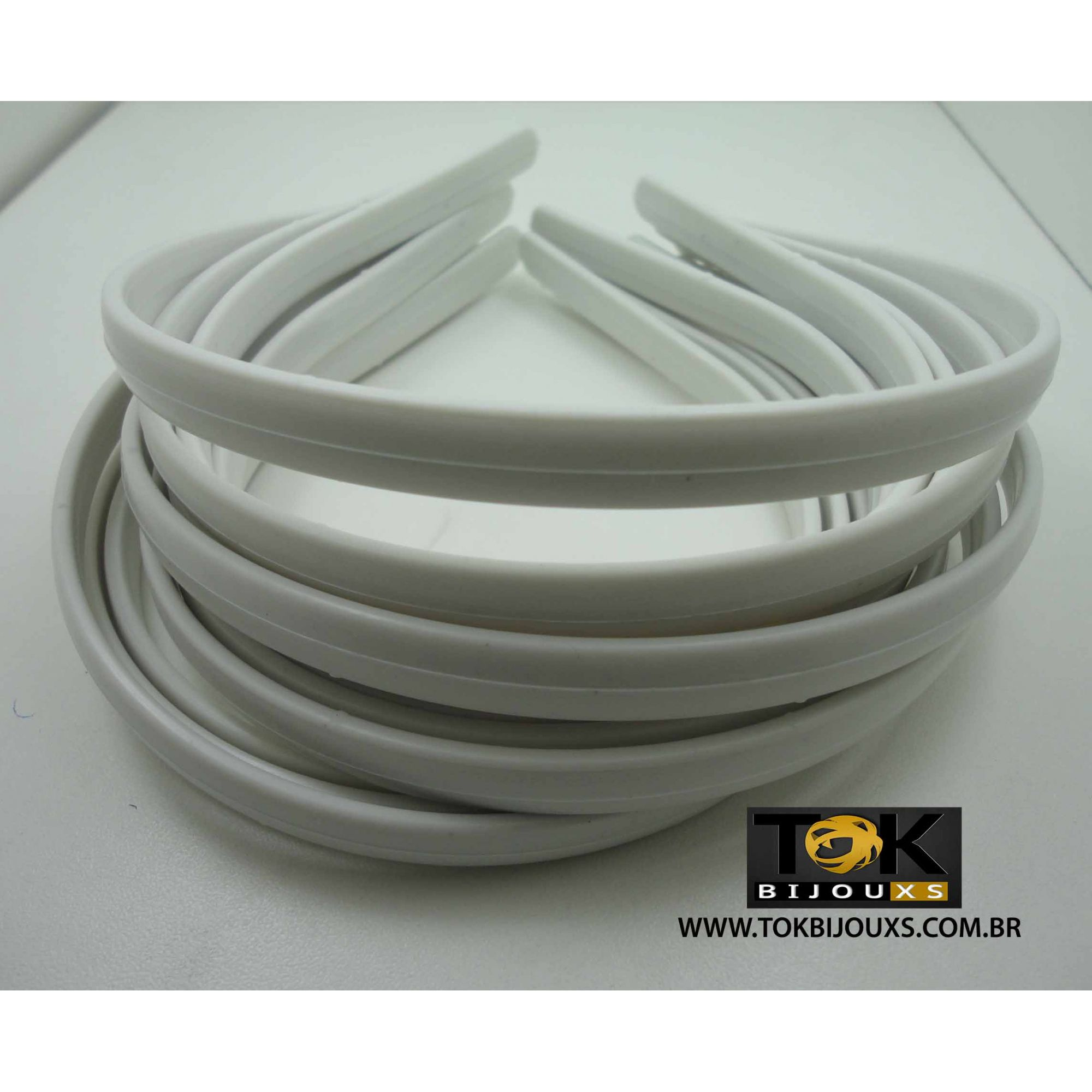 Tiaras Simples 10mm Branco - 12  Unid