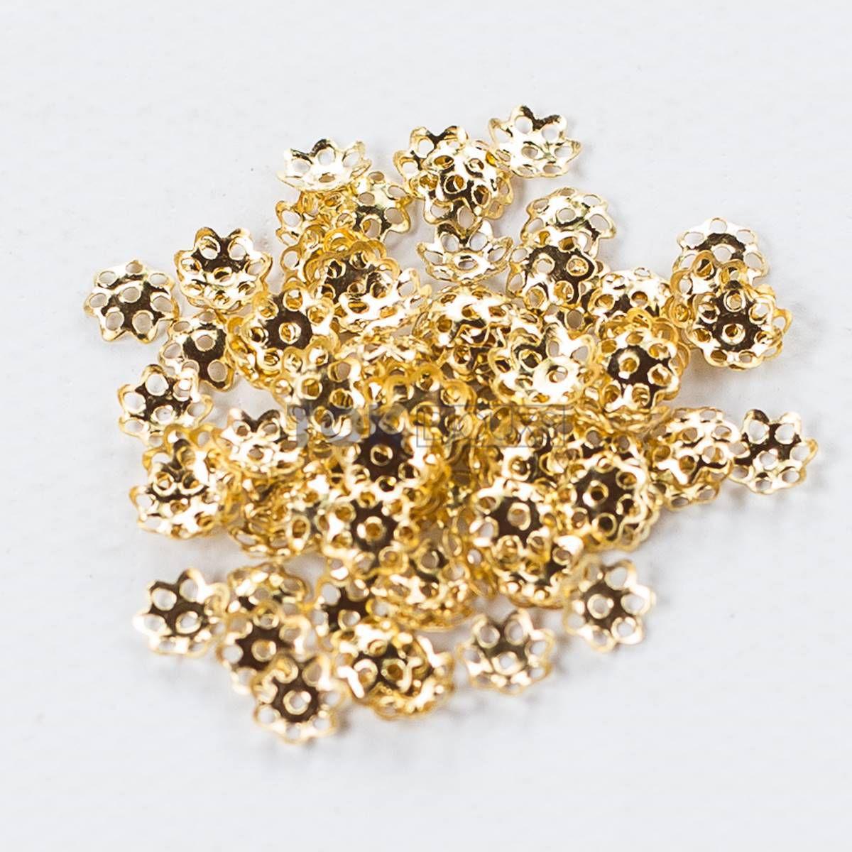 Tulipas Flor - Dourado - 6mm - 100Un