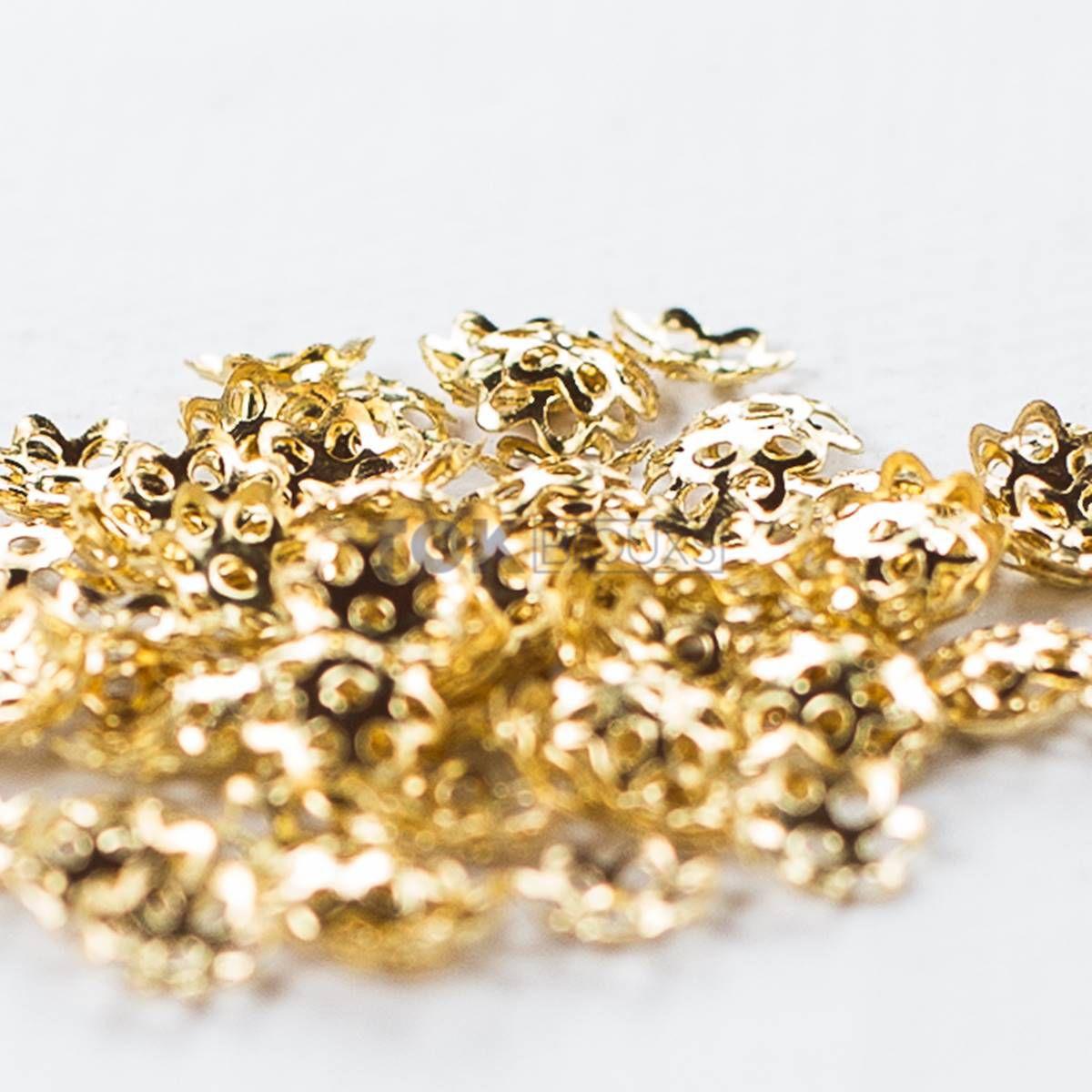 Tulipas Flor - Dourado - 8mm - 100Un