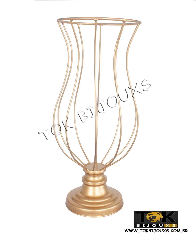 Vaso - Armação Pedrarias - 60cm - Dourado