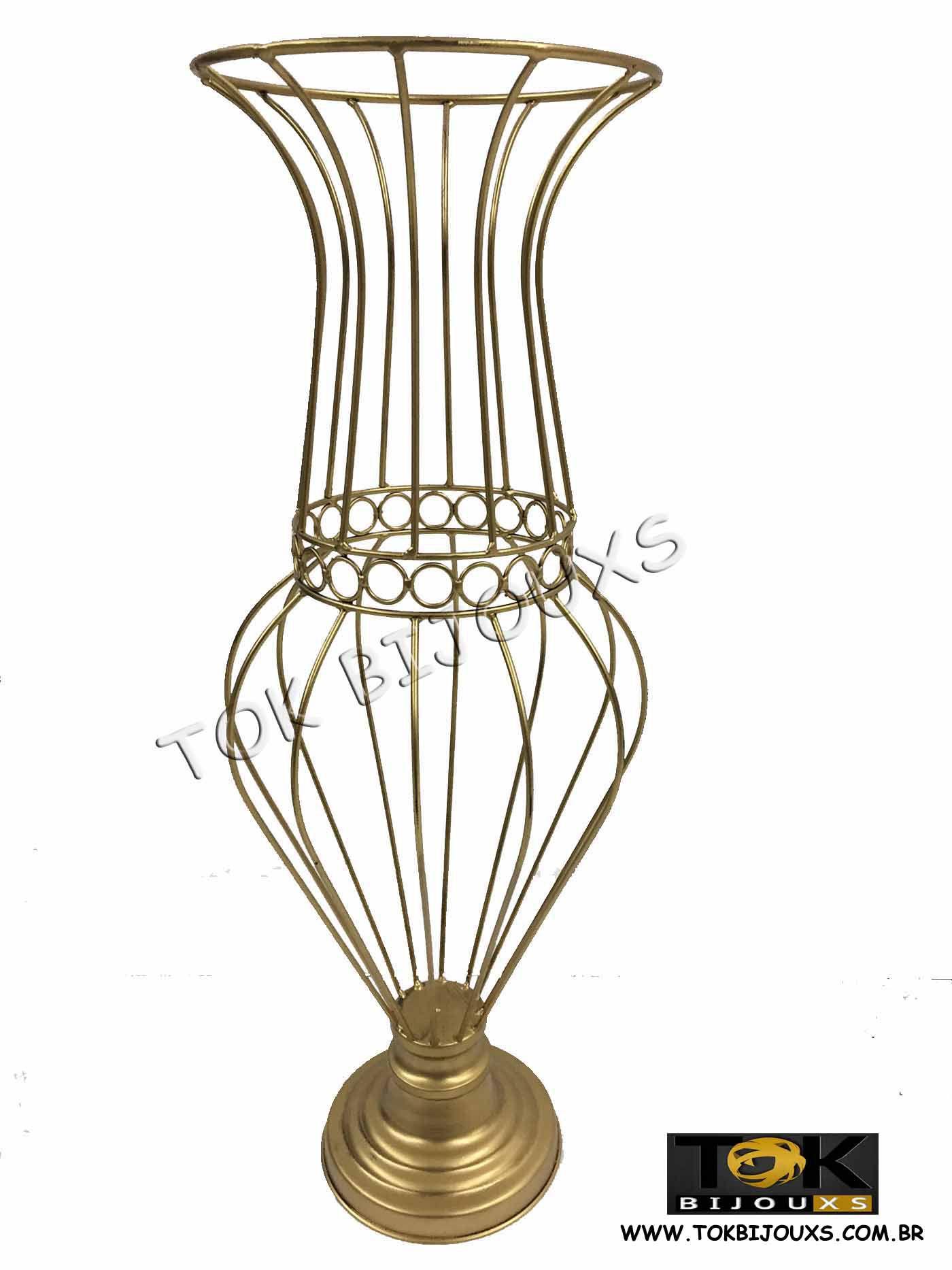 Vaso Sophia - Armação Pedrarias - 60cm - Dourado