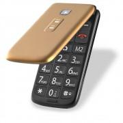 """Celular Multilaser Flip Vita P9043 Tela de 2,4"""", Dual Chip, MP3, Câmera VGA, Bluetooth - Dourado"""