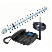 Kit Telefone Celular Fixo CF4201 GSM com Identificador de Chamada, Viva Voz + Antena + Cabo