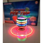 Pião Sonoro Flashing Peg-Top com Luzes e Lançador