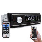 Radio Automotivo Bluetooth 100W RMS Entradas USB RCA Controle  Knup KP-C18BH