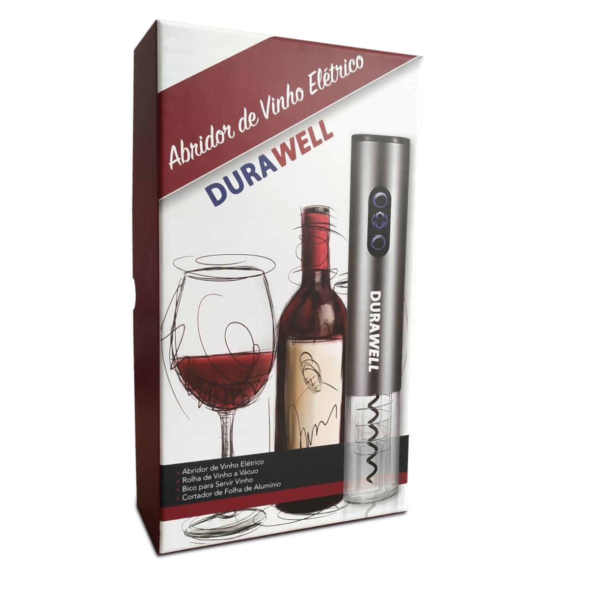 Abridor De Garrafa Vinho Elétrico Automático Kit 4 Peças C001N Cinza - Durawell
