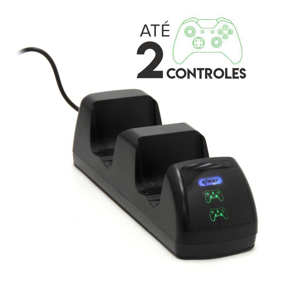 Base Carregadora Para Dois Controles Xbox-One Com 02 Baterias Knup KP-5139