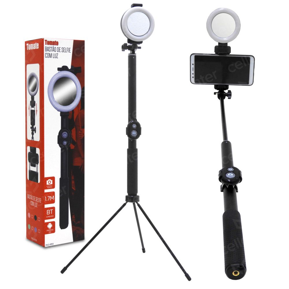 """Bastão de Selfie Tripé com Luz LED Controle até 7"""" Tomate MLG-059"""
