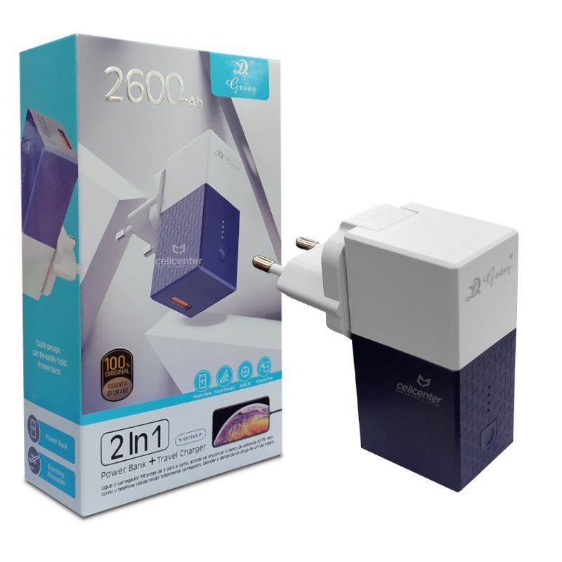 Carregador de Celular e Power Bank 2600mAh 2 em 1 Gaday - YQ307