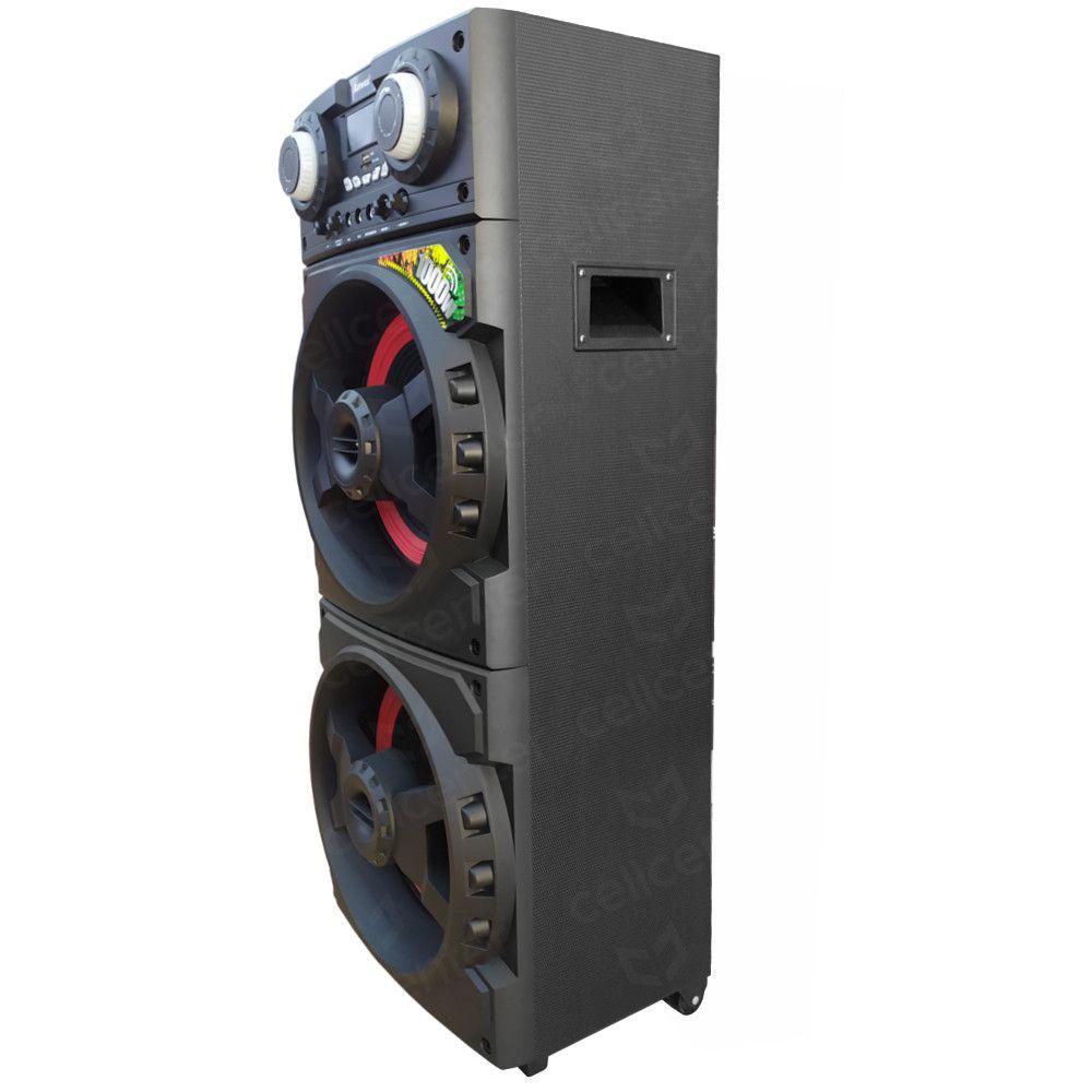 Caixa Amplificada Bluetooth 1000W RMS Entrada USB, Microfone Rádio FM - Amvox ACA1001 Turbo