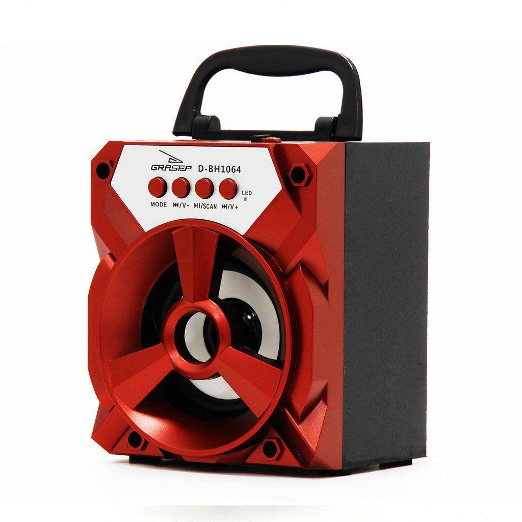 Caixa De Som Bluetooth 6W RMS Portátil Rádio Fm Micro Sd Dbh1064 Vermelho
