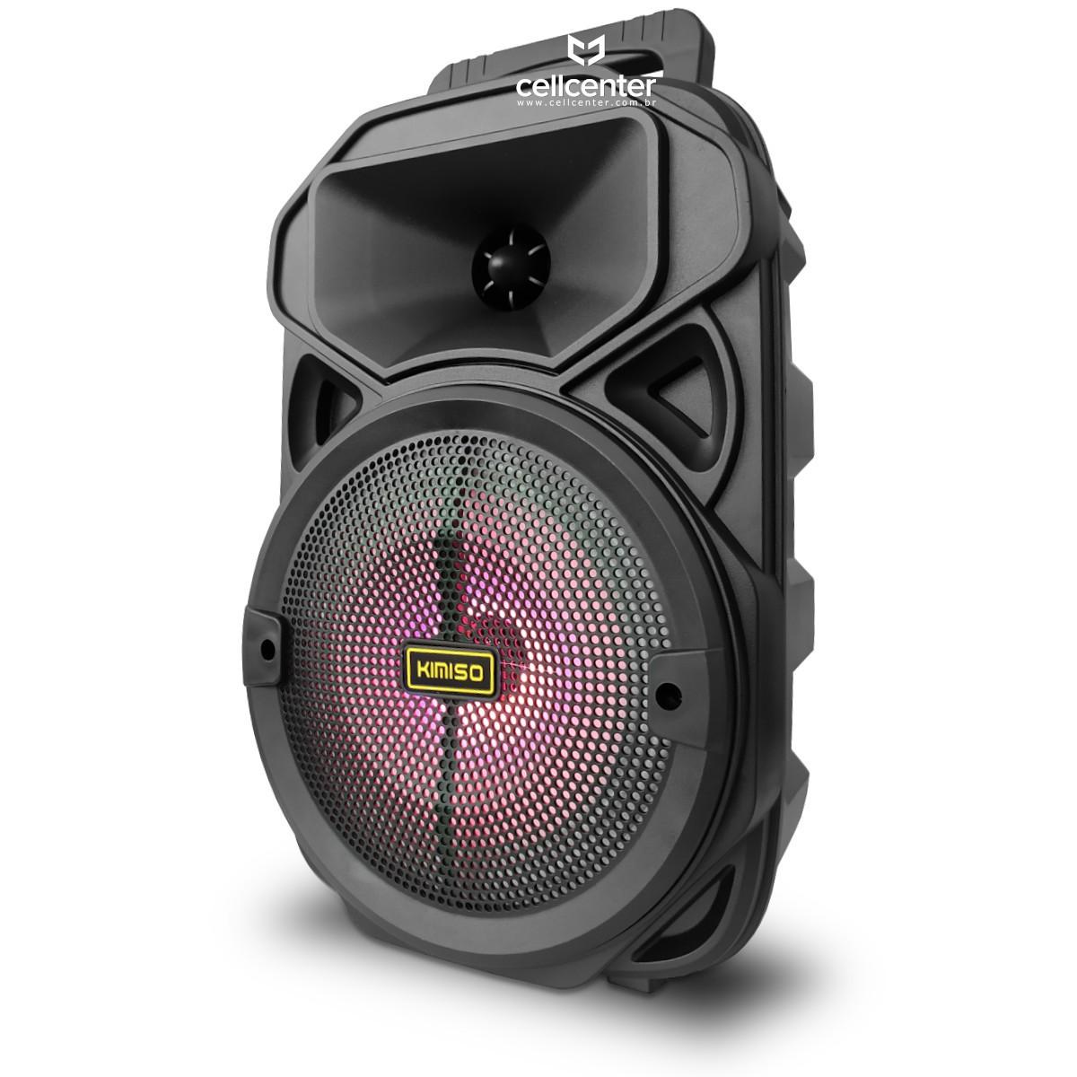 Caixa De Som Bluetooth LEDs Bivolt USB/TF/AUX/P10 com Microfone Brinde