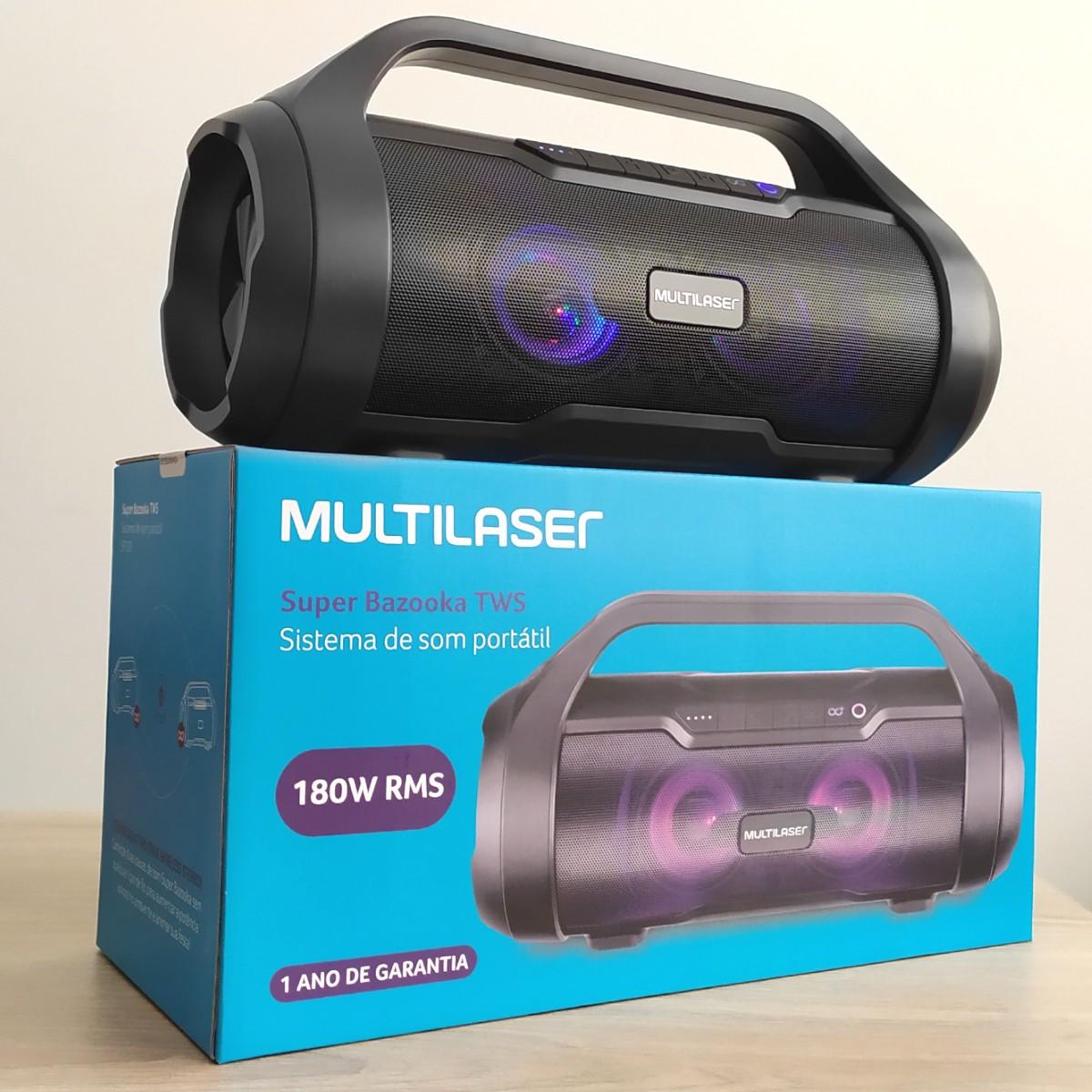 Caixa de Som Boombox Multilaser 180w Bt/Aux/Sd/Usb/Fm SP-339