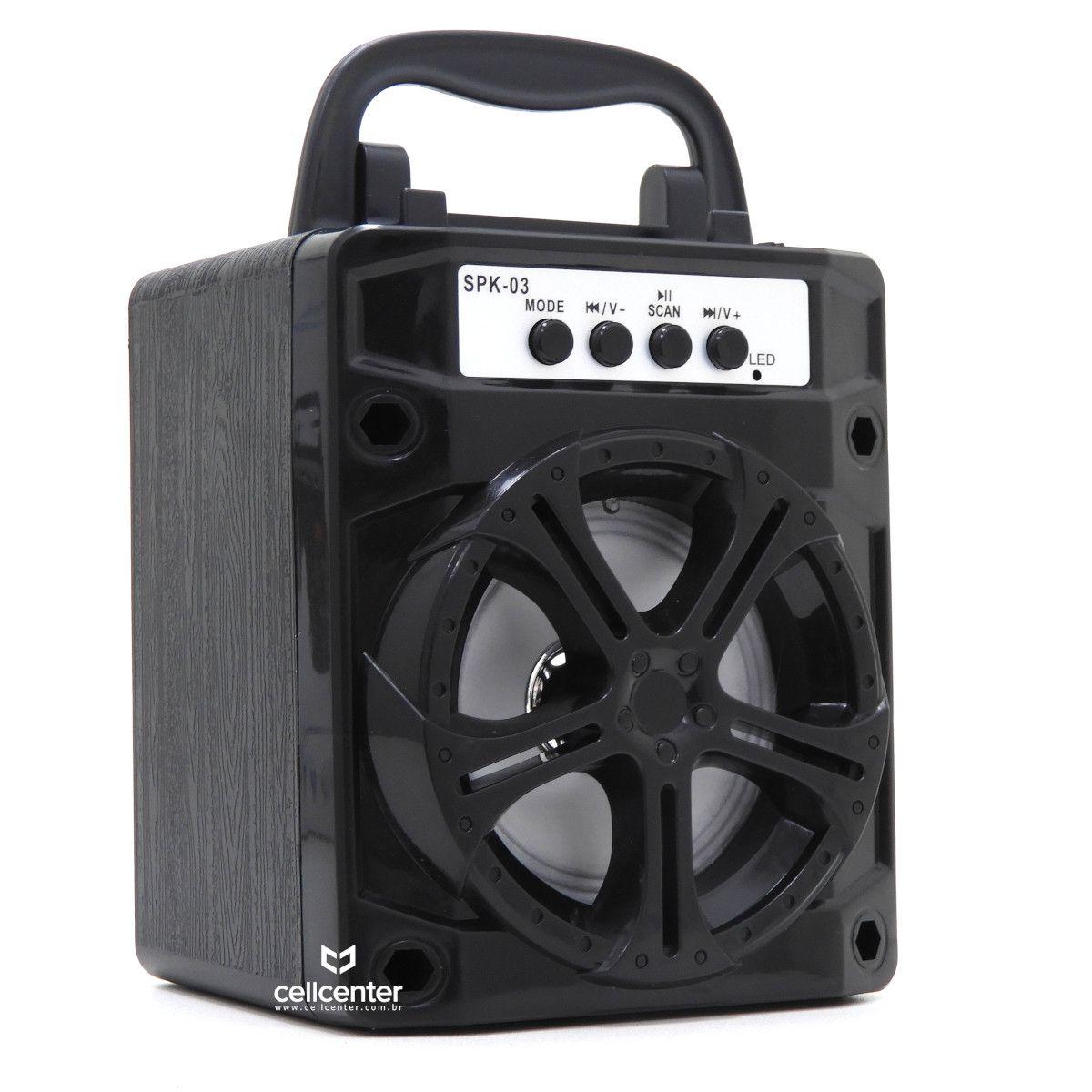 Caixa Som Bluetooth 5w Rms Usb Mp3 Fm Sd P2 SPK-03