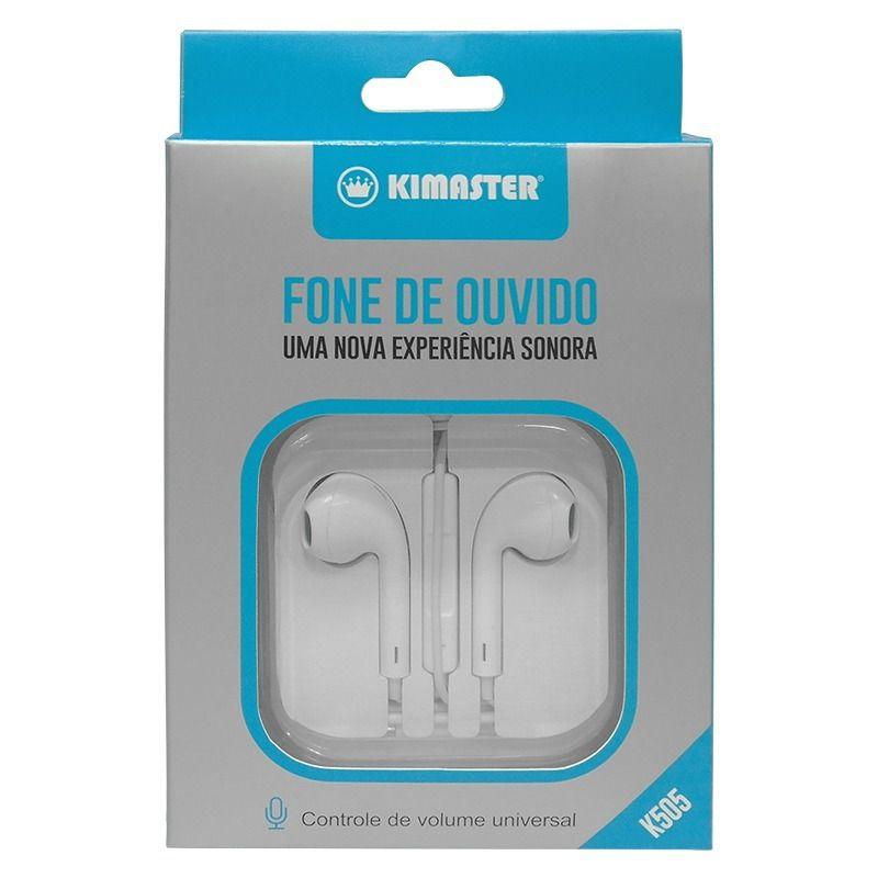 Fone com Microfone, Controle de Volume e Embalagem Acrílica K505 - Kimaster